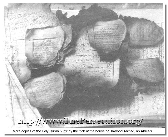 Holy Quran burnt by mob in an Ahmadi home